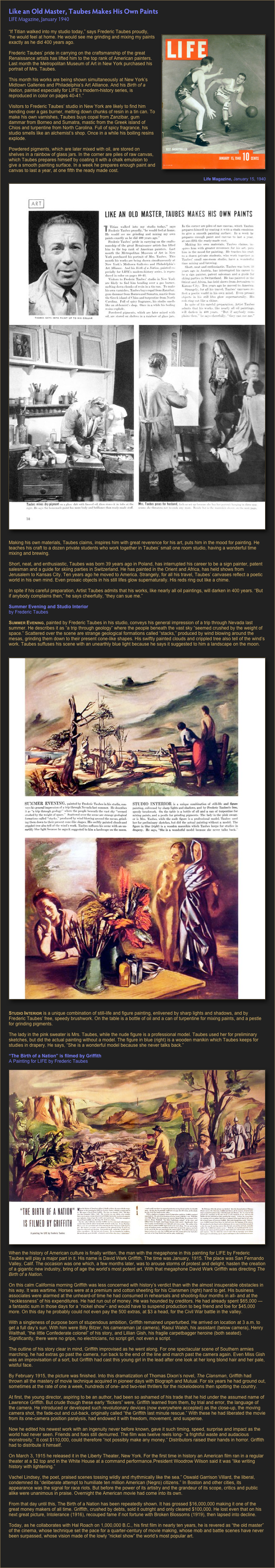 Like an Old Master, Taubes Makes His Own Paints